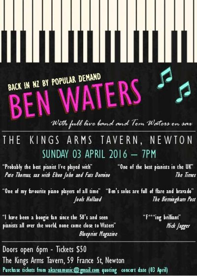 Ben waters and band kings arms tavern auckland sun 03 april 2016 ben waters and band malvernweather Choice Image