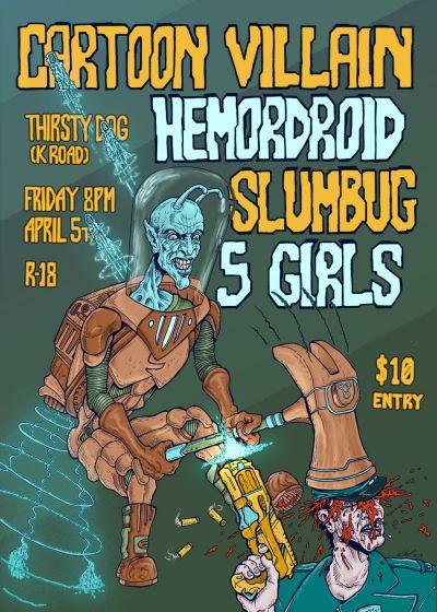 Cartoon Villain, Hemordroid, Slumbug And Five Girls
