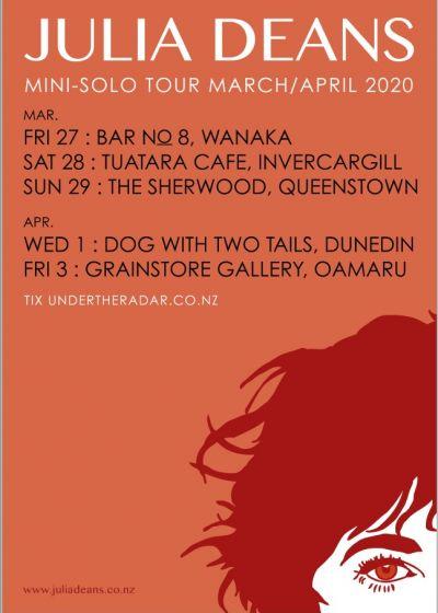 Julia Deans Solo South Island Tour - Cancelled
