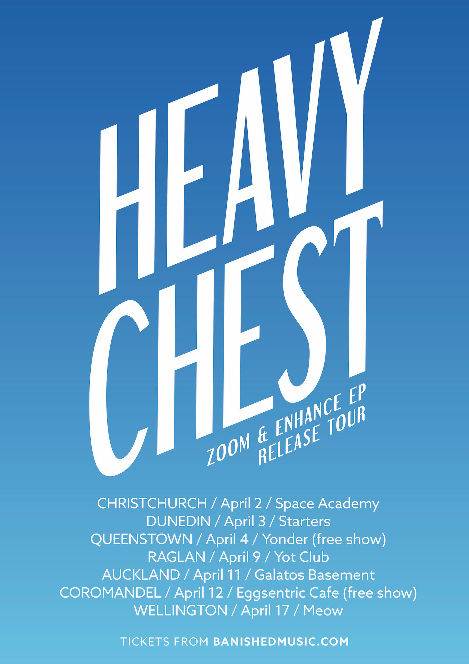 Heavy Chest , Zoom & Enhance EP release tour - Christchurch - Postponed - Space Academy , Christchurch