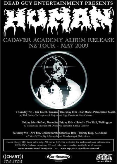 Human - Cadaver Academy Album Release - Nz Tour 2009