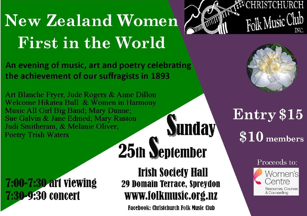 NZ Women First In The World - An Evening Of Music, Art And Poetry