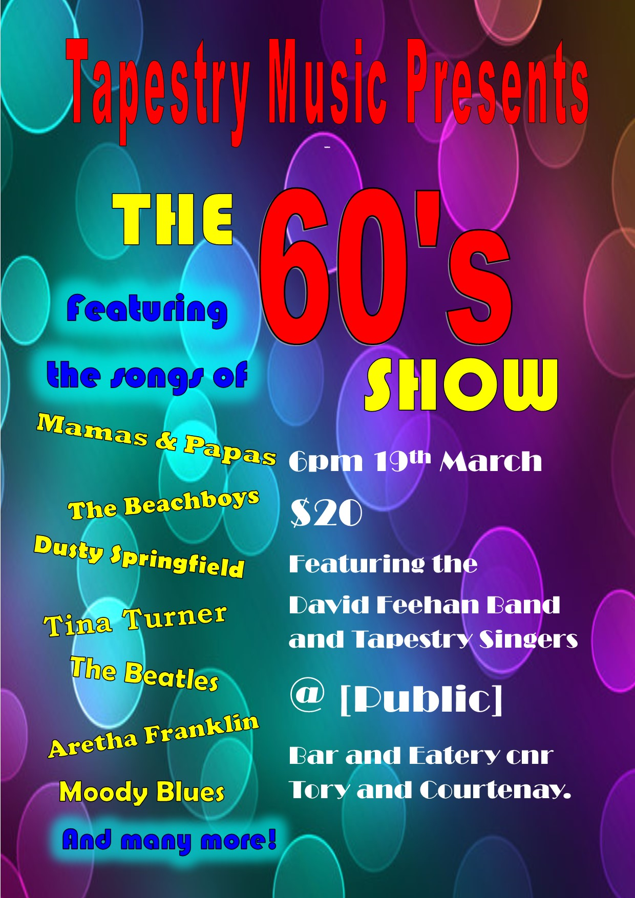 Tapestry Music Presents: The 60s Show!