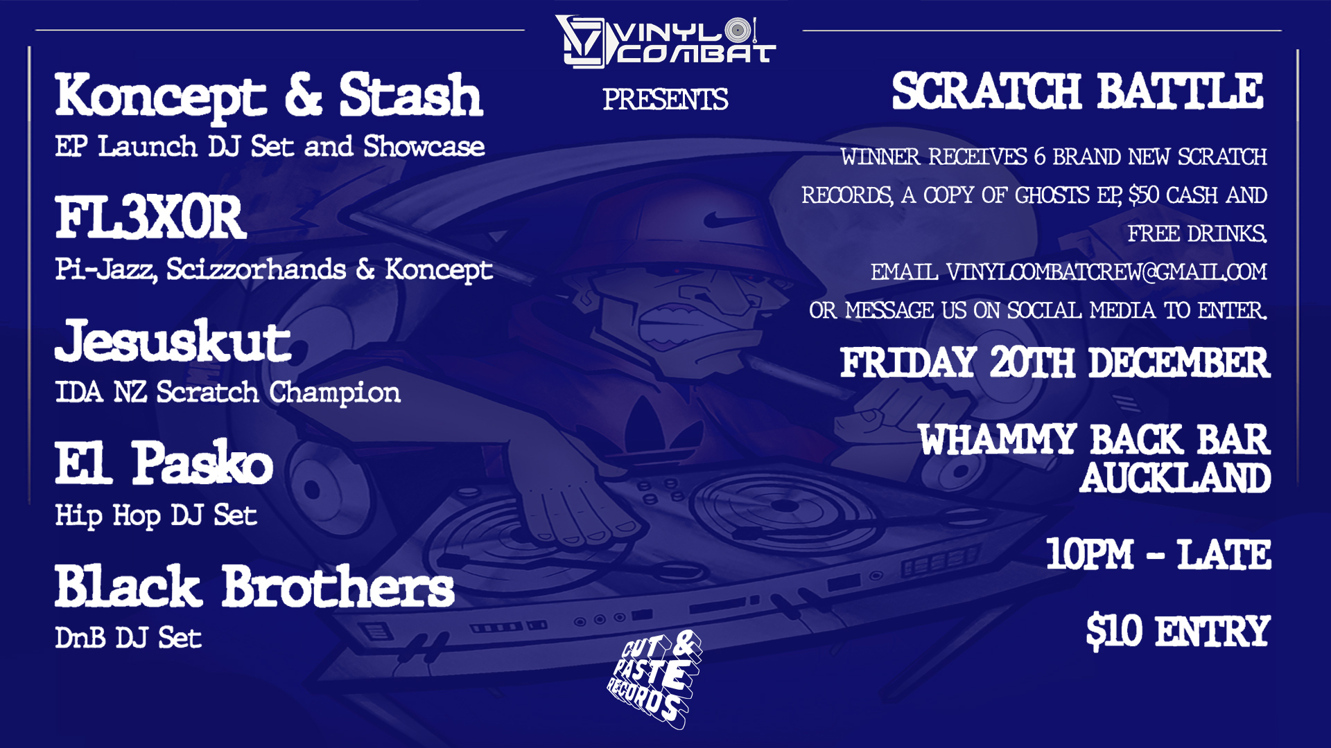 Vinyl Combat Presents Ghosts EP Launch NZ and Scratch Battle!